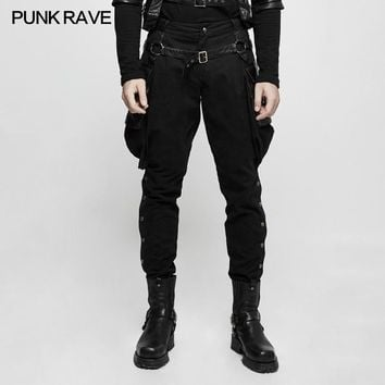 2017 Gothic Brand New Punk Rave Men Black Steam Steampunk Riding Pants Trousers K304