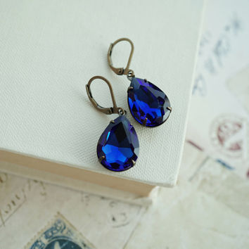 Sapphire Blue Pear Rhinestone Jewel Earrings. Bridesmaid Gifts. Dark Blue Bridal Wedding. Something Blue, Deep Blue Earrings, Dark Sapphire,