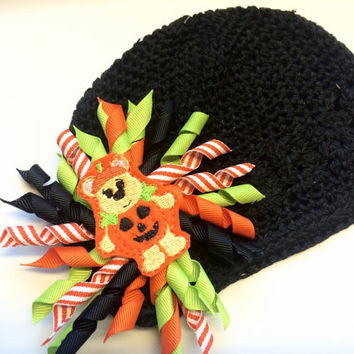 Baby Halloween Hat - Pumpkin Hat for Newborn - Beanie Hat for Infant - Black Crochet Cap for Halloween - Korker Hair Bow for Infant -