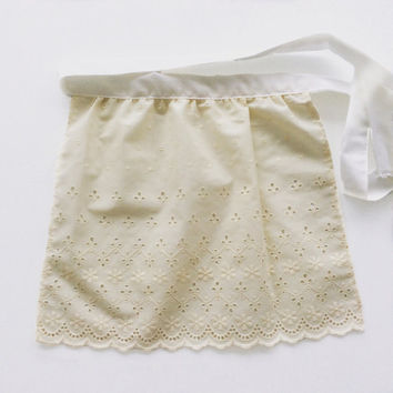 Ivory Eyelet Apron, Birthday Gift for Girl, French Maid apron, Toddler Apron Old Fashioned Apron for tall doll, Sexy Costume Apron
