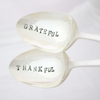 Serving Utensils: Grateful, Thankful. Hand stamped spoons for table decor. As Seen In Pimlico Magazine.