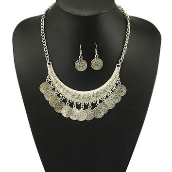 Gypsy Bohemian Beachy crescent Coin Fringe Necklace JEWELRY SET Rhinestone Silver Bib Coin Ethnic Turkish = 1928668420