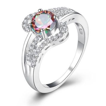 STYLEDOME Crystal Rings For Women Hollow Geometric Statement Engagement Ring