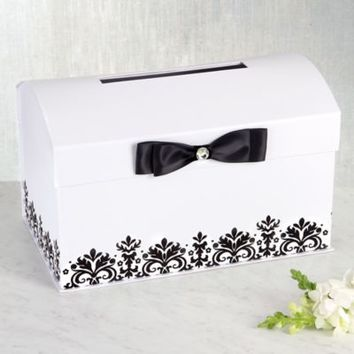 White Wedding Card Holder Box with Black Bow 8in | Party City