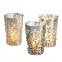 "Pack of 6 Mercury Glass Fleur de Lis Decorative Tea Light Candle Holders 4.5"" 28846487 