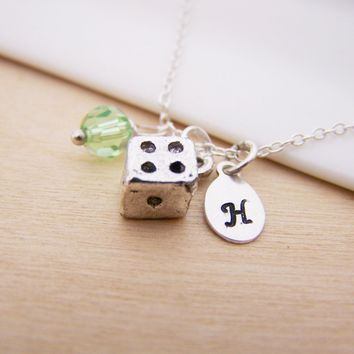 Dainty Lucky Dice Charm Swarovski Birthstone Initial Personalized Sterling Silver Necklace / Gift for Her