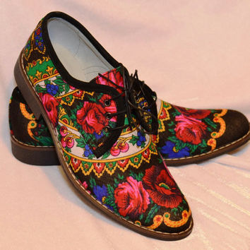 Men Oxford shoes Flower print pattern Oxford shoes Black flower Oxford shoes