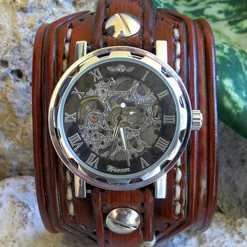 Mens leather watch cuff,  leather wrist watch, men's leather cuff, watch bracelet, handmade, brown