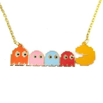 Namco Pac-Man and Ghost Themed Pixel Pendant Necklace | Handmade | redditgifts