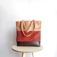 Leather tote bag dark burgundy, messenger bag beige and dark red, hobo bag leather, beige handbag, tote bag suede, bag with three colors