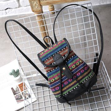 Women Fashion National Backpack Stripe Woven Canvas Shoulder