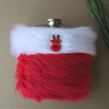 Kawaii Christmas Flask, Girly Flask Funny Gift, Fluffy Red and White Cute Womens Hip Flask, Holiday Flask for Women, INCLUDING 6oz FLASK