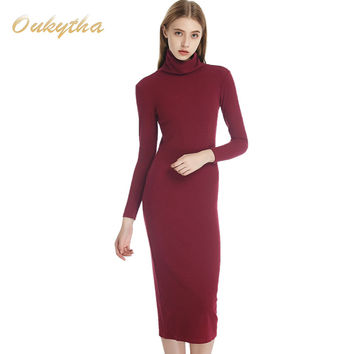 The Korean Version Of Slim Package Hip Knitted Sweater Dress And Long Sleeved Turtleneck Sweater Dress Tight Long Primer W15292
