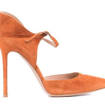 Gianvito Rossi Orange Suede Cut Out Ankle Strap Pump