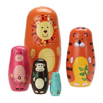Cute Wooden Animal Paint Nesting Dolls Babushka Doll Matryoshka Gift Hand Paint Toys Home Decoration Gifts