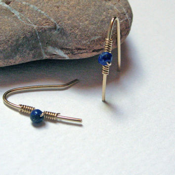 Lapis Lazuli Earrings, 14 Gold Fill or 925 Sterling Silver, Delicate Earrings, Simple Everyday Earrings, Hand Crafted Wire Earrings