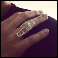 Quartz crystal point ring with double gold plated by miskwill
