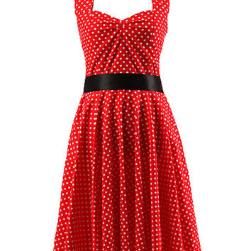 Red Polka Dot Sleeveless Halter Backless A-line Sheath Skater Mini Dress with Belt
