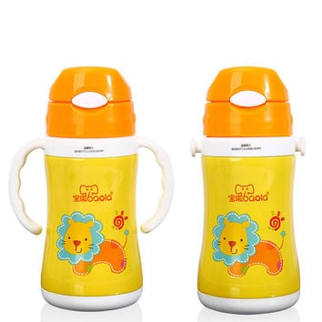 Kids Vacuum Mug Travel Bottle Stainless Steel Thermos with Handle Insulate BPA Free Thermal Coffee Mug for Hot and Cold Drinks