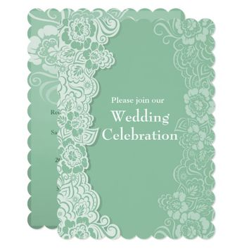 Mint Lace and Butterfly Wedding Invitation