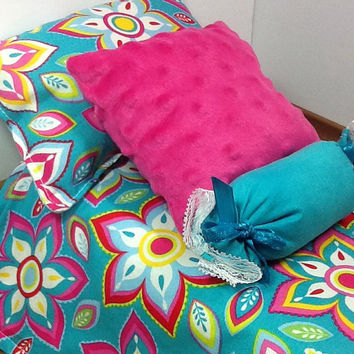 Doll Bedding for 18 inch dolls, comforter set in teal with flowers in pink, teal, yellow, red and green, bolster, 2 pillows
