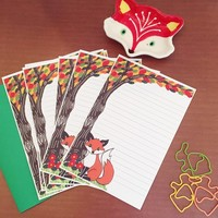 Woodland fox stationery set