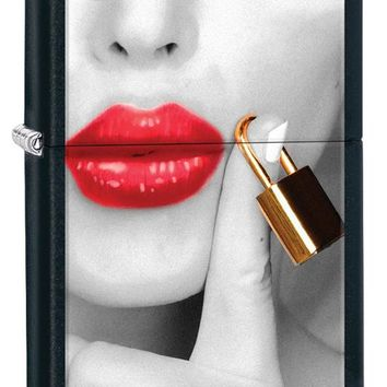 Zippo RED Lucious Lips are Sealed & Locked Cigarette Lighter on Black Matte