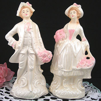 Chalk Figurines, Colonial Man and Woman, Ivory White & Pink, Cottage Chic, French Shabby, 1950s
