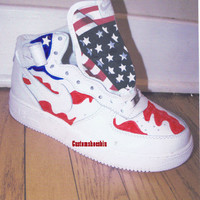 Custom American Flag Air Force Ones Hi Tops