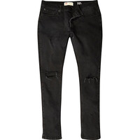 River Island MensBlack ripped Sid skinny stretch jeans