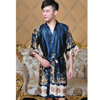 New Arrival Unisex Faux Silk Kimono Robe Bath Gown Men V-Neck Long Sleepwear Chinese Style Printed Pijamas One Size