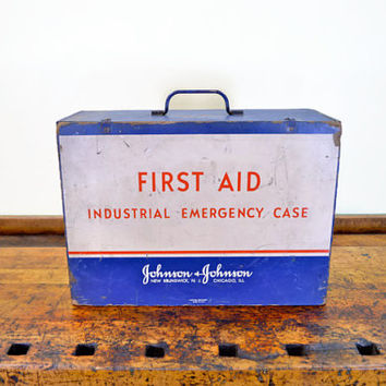 Vintage First Aid Box, Industrial Emergency Case, Johnson and Johnson, Wartime Container, 1940s,