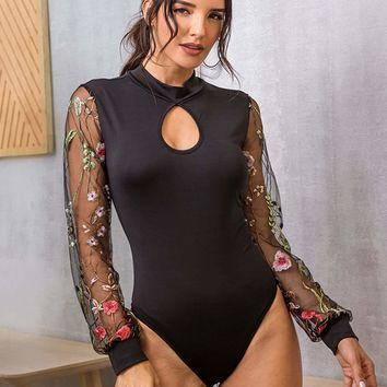 Embroidered Mesh Cuff Cut Out Bodysuit