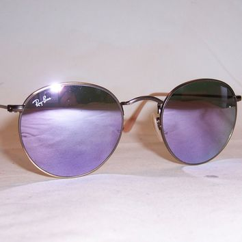 New RAY BAN ROUND METAL Sunglasses 3447 167/4K BRONZ/LILAC MIRROR 50mm AUTHENTIC