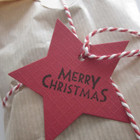 Black Friday - Cyber monday sale --- DIY set Kraft paper Christmas bags with cellofane bag, red/white bakers twine and red/green star tag