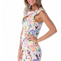 Armoured dress in white floral | SHOWPO Fashion Online Shopping