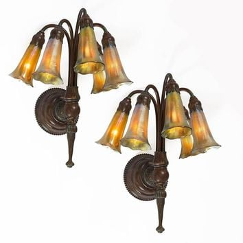 "Tiffany Studios New York ""Five-Light Lily"" Wall Sconces"