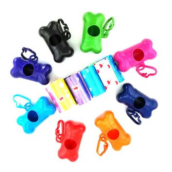 1 Roll (1Roll=20pcs Bags) +1PCS Bone Dispenser Pet Dog Waste bags Poop Pooper Scoopers for Bags on Board,Biodegradable