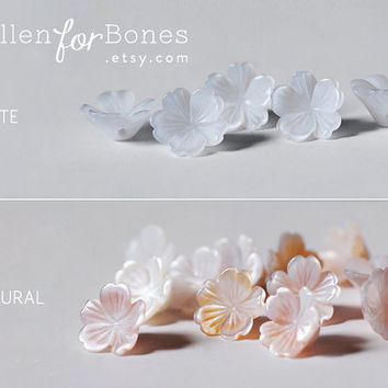 2pcs ∙ Seashell Sakura Beads Flower Natural Mother of Pearl Cherry Blossom Earring Jewelry Supplies (8mm, 10mm, 13mm)