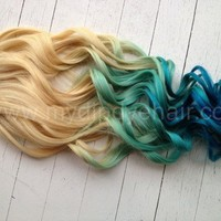 Mermaid Blonde Ombre/Blonde Hair extensions dipped in Pastel Blue fade