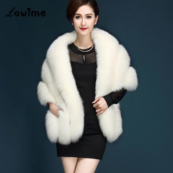 Bolero Women Faux Fur Stoles Wrap Fashion Bridal Capes Winter Wedding Jacket Mariage In Stock Ivory Black Cheap Fur Bolero