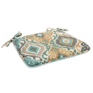 Outdoor Bistro Chair Cushion with Ties in Ikat Mist