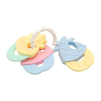 Safety Baby Chew Teether Keys Toy Lovely Molar Toothbrush Training Tooth Chewing Toddler Teether Ring Bell Toys