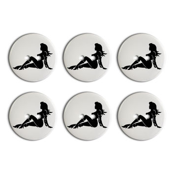 Sexy Mudflap Girl Plastic Resin Button Set of 6