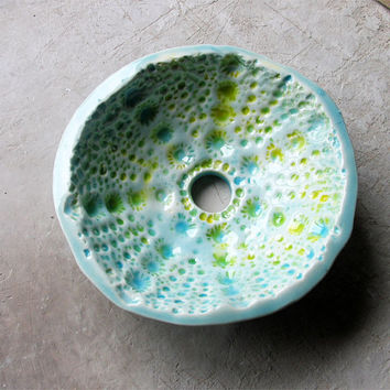 Rustic soap dish , ceramic soap dish, turquoise green and yellow soap dish