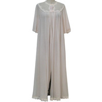 70s Womens Lingerie Nightgown (Missing Label): 70s -Missing Label- Womens pink double layer sheer nylon short sleeve, floor length nightie with rounded sheer knit neckline, two button closure and lace trimmed hem.