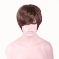 28cm Fashion Sexy Bob Ladies Synthetic Wig Women Tilted Frisette Short Hair Cosplay Wigs Brown