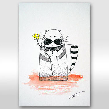 """CIJ SALE - Free shipping Original Ink Drawing Original Painting - """"Flower for You"""" cat painting A4 size painting 12 x 8"""