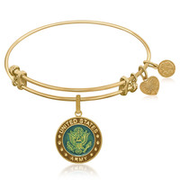 Expandable Bangle in Yellow Tone Brass with Enamel U.S. Army Symbol