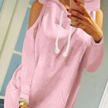 Pink Pockets Cut Out Hooded Fashion Pullover Sweatshirt